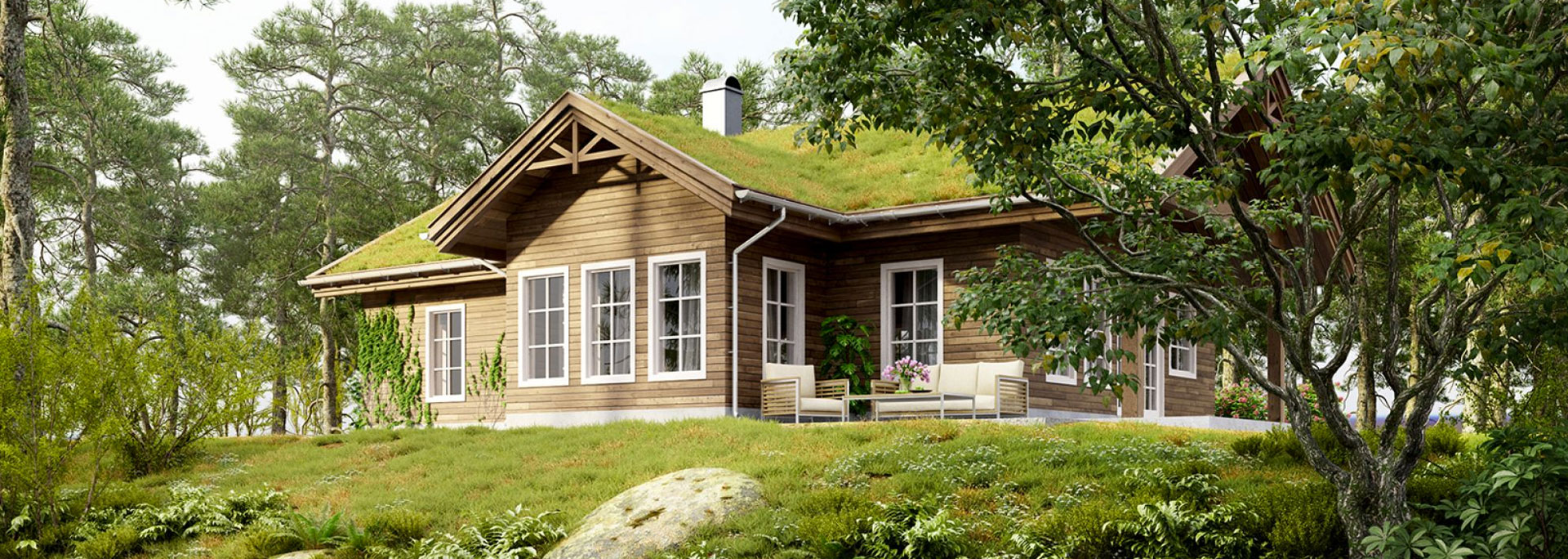 3D photorealistic architectural visualization of a sustainable architecture craftsman style residence with wood siding and a green live roof
