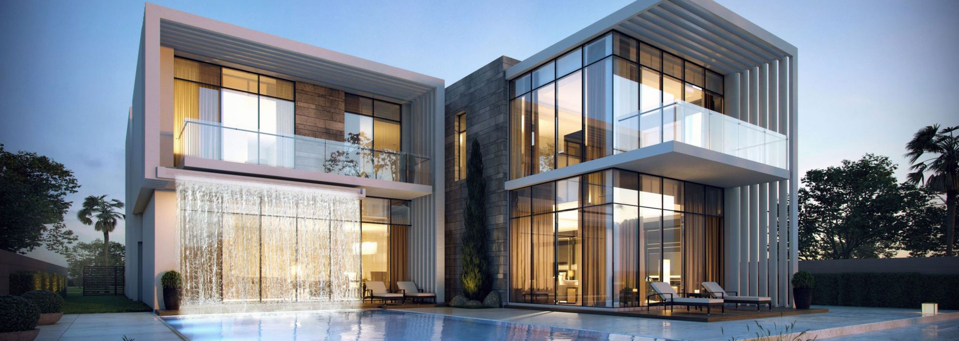 3D photorealistic architectural visualization of a two-story stucco and brick contemporary house with glass curtain walls, and a custom pool with second floor waterfall