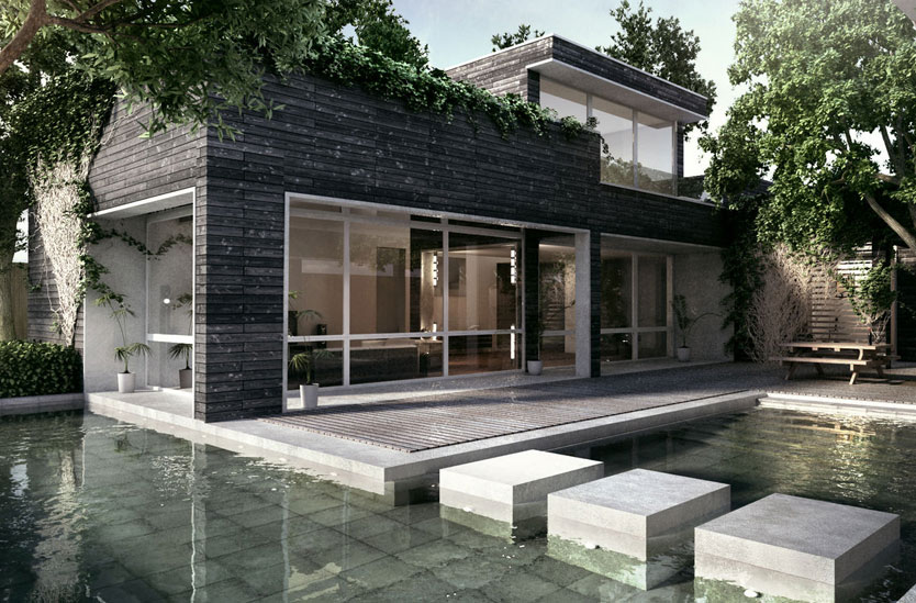 3D photorealistic architectural visualization of a modern Japanese influenced courtyard with custom water feature