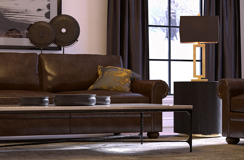 3D photorealistic architectural visualization of a Restoration Hardware inspired living room