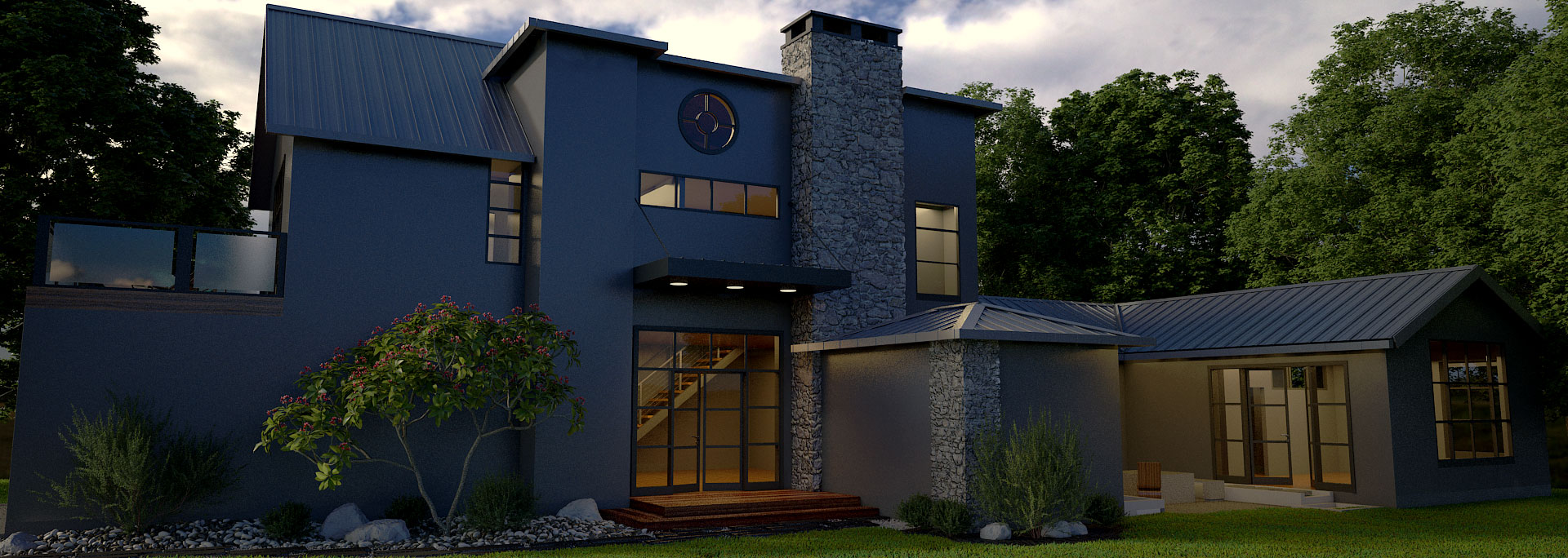 Organic modern home with ipe wood deck ceiling and mixed stucco and stone exterior