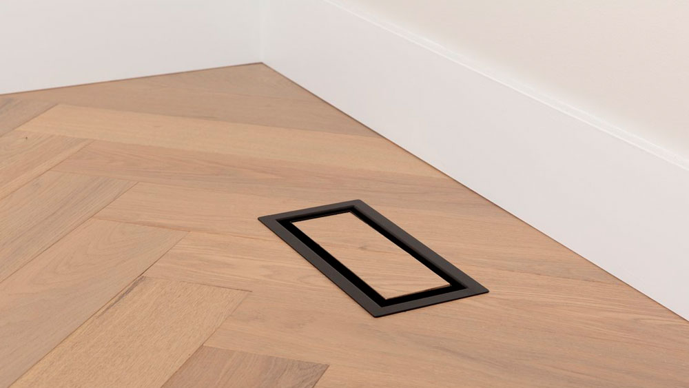 Aria OG floor register showing a seamless and modern way to integrate your floor air registers into your custom flooring finish