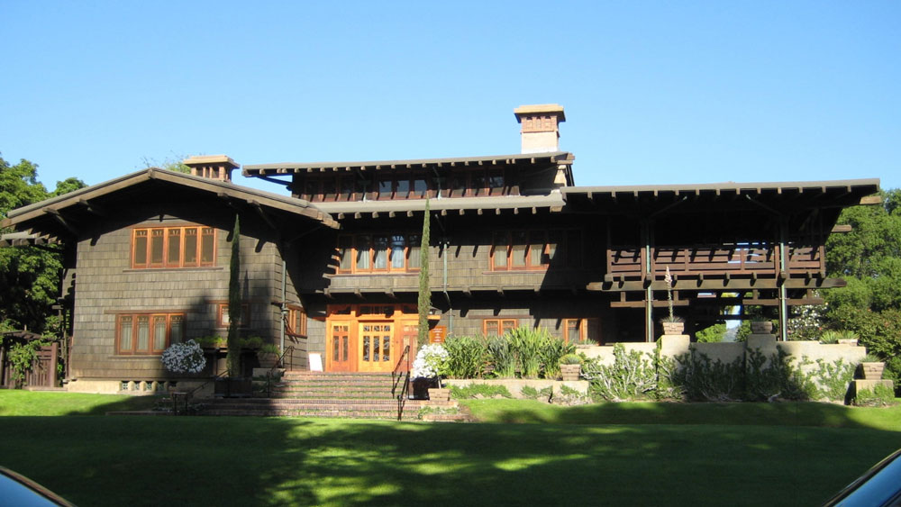 Exterior of the 3-story arts and crafts style Gamble House in Pasadena used as the 1950's home of Doc Brown