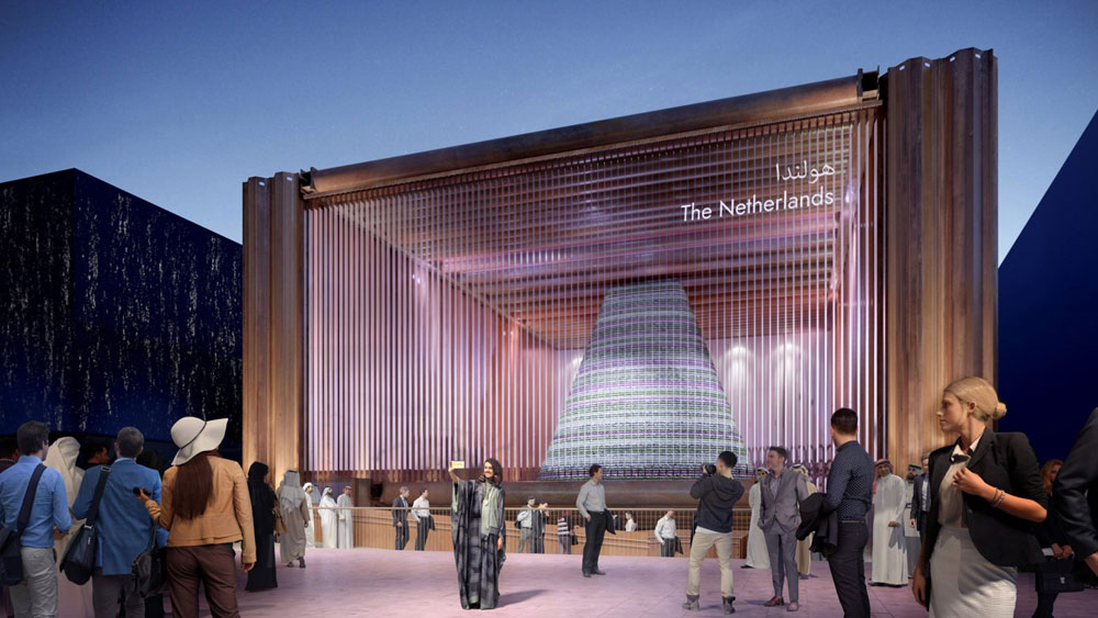Render of the modern square pavilion installation from the Netherlands for the Expo 2020 Dubai with transparent front facade.