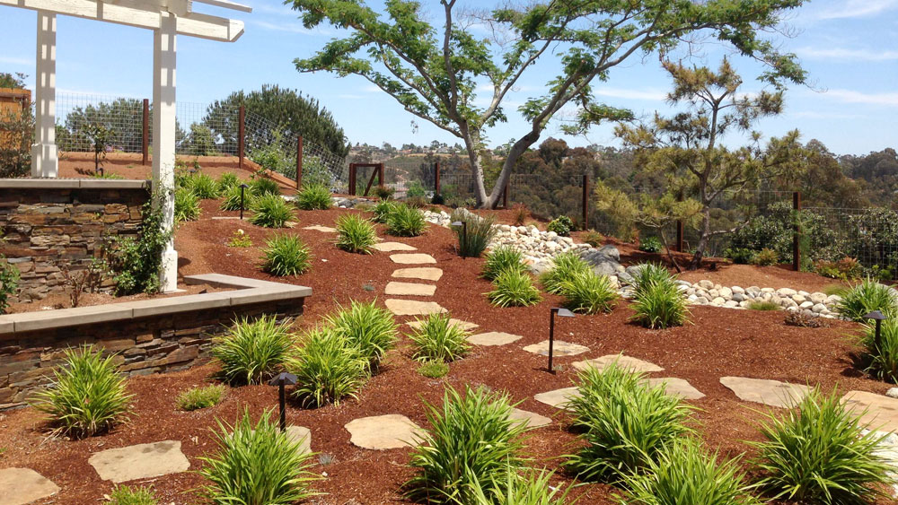 Wood mulch covering a large xeriscaped front yard on a hill, signifying the annual maintenance needed for organic mulches