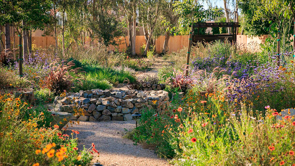 Crushed granite pathway through lush xeriscape with colorful blooming wildflowers and a stone well in the center