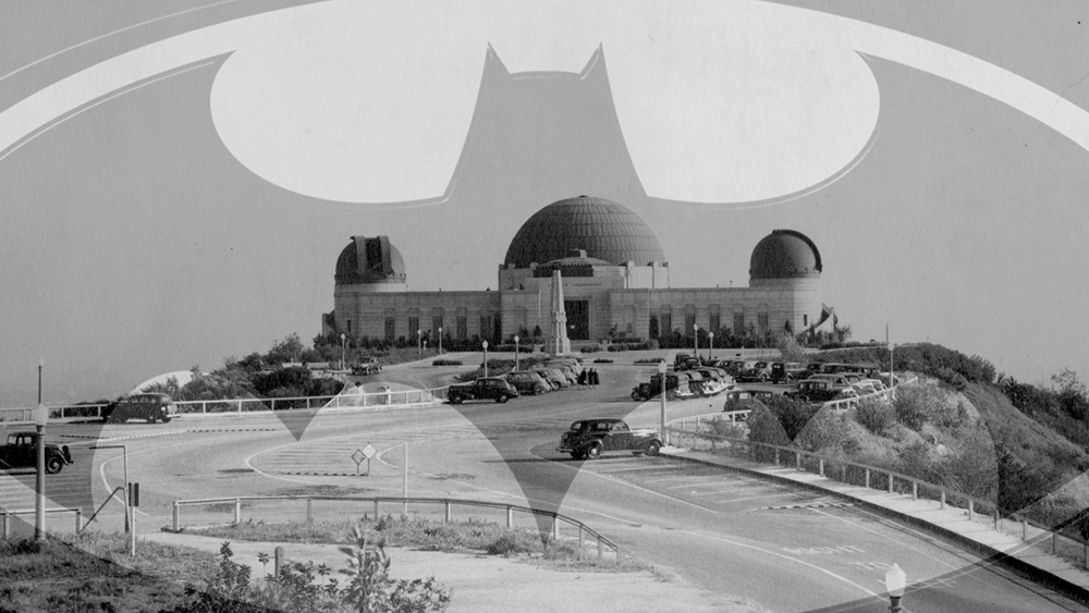 The Griffith Observatory behind the Batman logo, signifying Griffith Park's acquisition of the land where the 1960's TV series was filmed