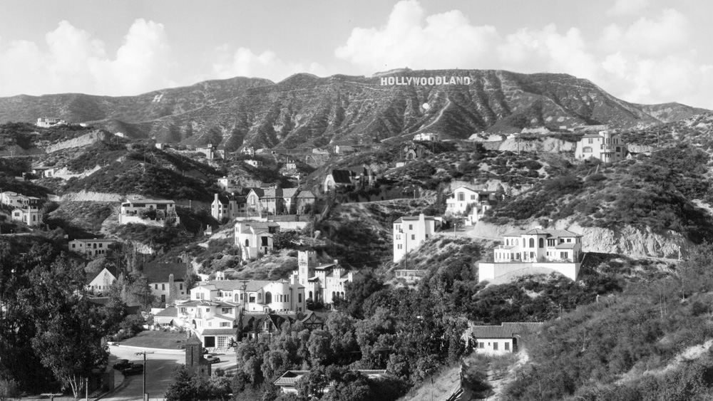 Hollywoodland circa 1926 with the backdrop of Mount Lee and the original Hollywoodland sign in Griffith Park.
