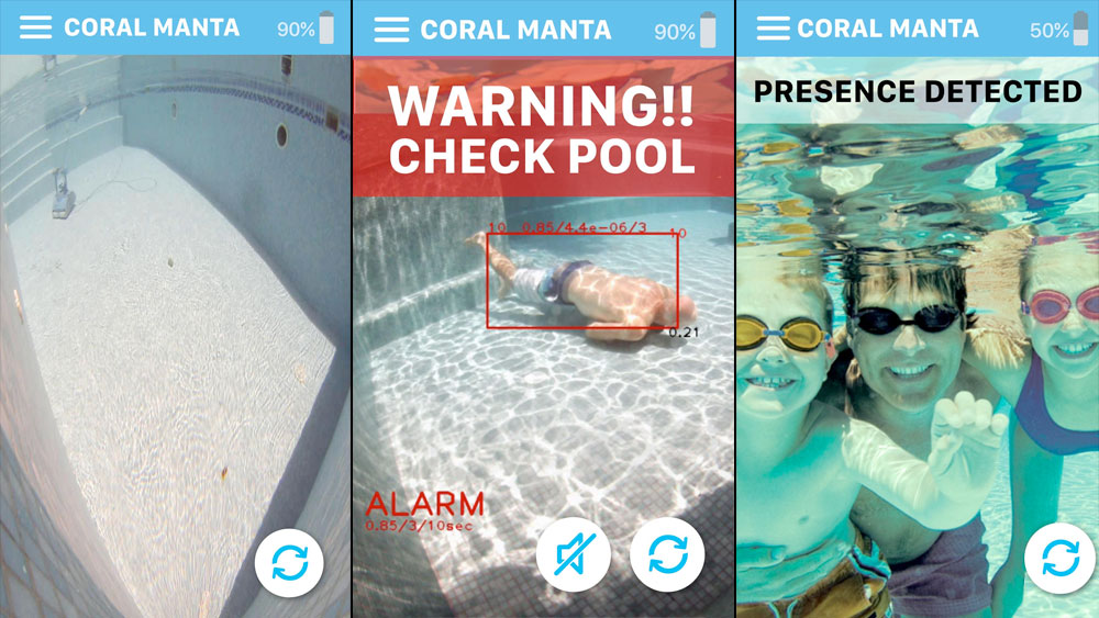 Examples of the functionality of the Coral Manta 3000 smartphone and tablet app notifications and alerts.