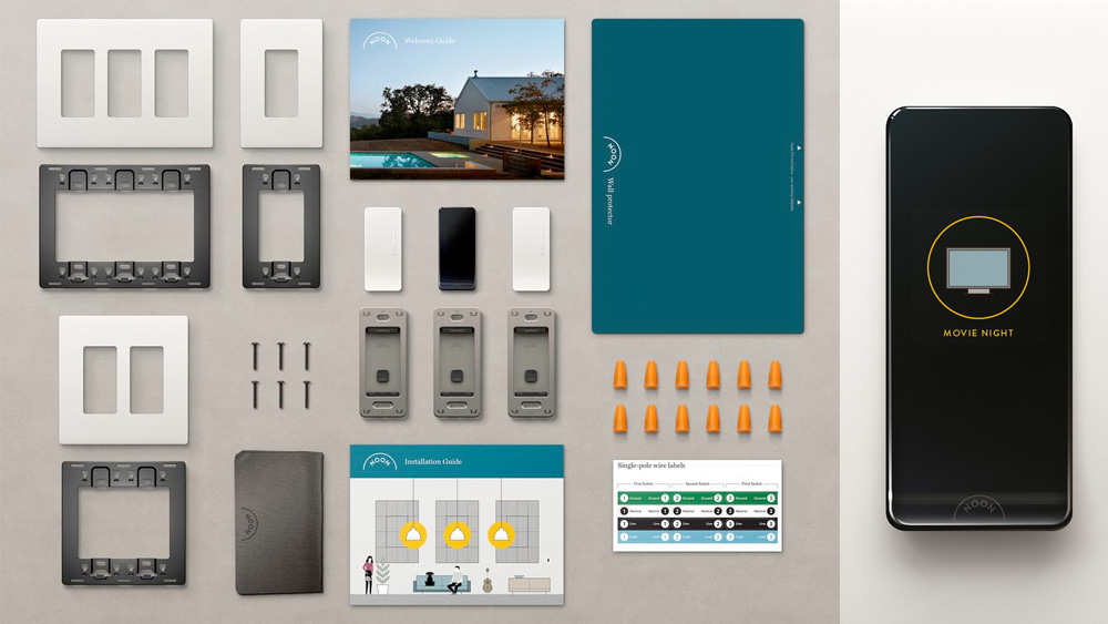 All the components included in a Noon Home starter kit, including one Room Director, two Extension dimmers, and the necessary hardware to install
