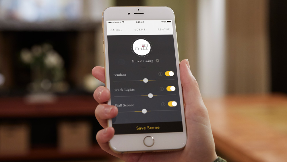 iPhone showing the Noon Home smart lighting system application screen to control the dimming of various light fixtures