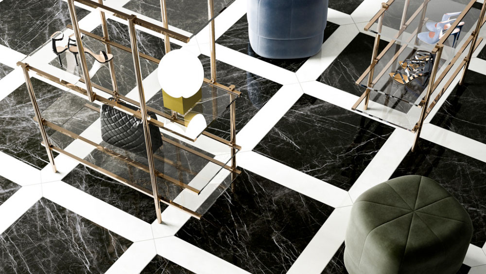 Refin porcelain black marble tile floor with white marble inlays in a square pattern.