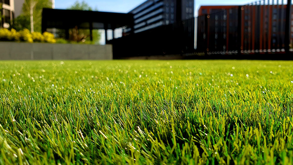 Close up of an artificial grass lawn in the foreground of a modern home