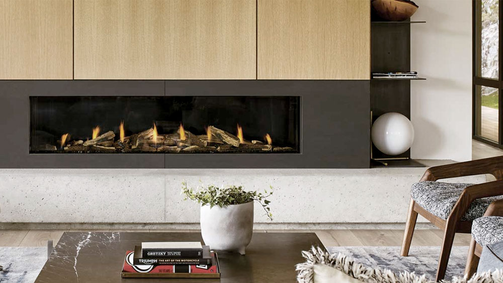 Modern living room with Regency City Series fireplace, showing a perfect setting for connecting a smart switch to a gas fireplace