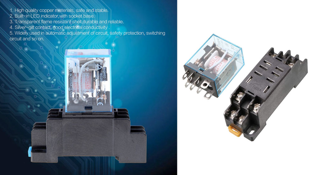The Uxcell AC 110V Coil Power Relay 10A DPDT LY2NJ with PTF08A Socket Base