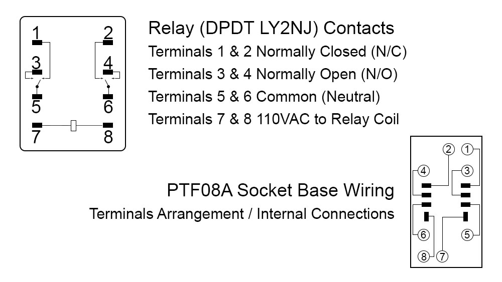 Uxcell DPDT LY2NJ Relay and PTF08A Socket Base Wiring Schematic