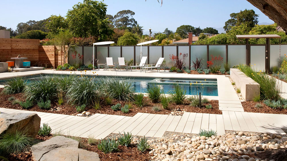 A modern, rectangular pool surrounded by a xeriscaped yard with ornamental grasses, river rocks, and wood mulch.
