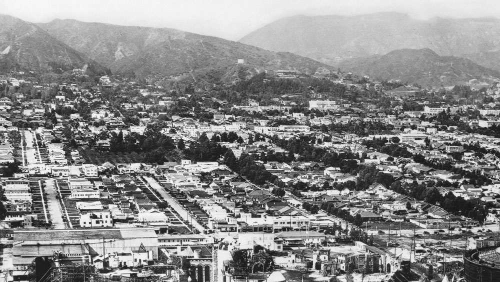 An aerial view of Hollywood, California (1926), showing the Pickford-Fairbanks Studio on Santa Monica Boulevard.